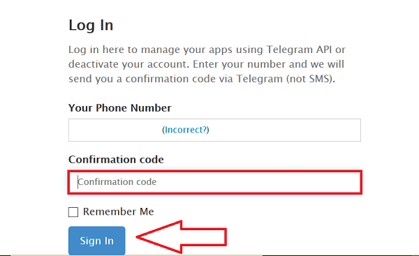 Delete Telegram Cofirmation Code