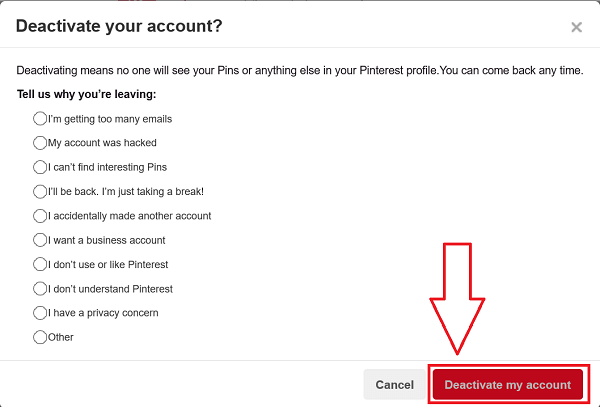 Disable Pinterest Account
