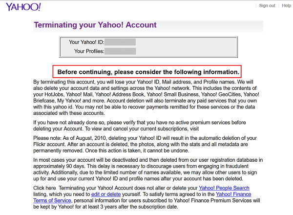 Delete Yahoo Account