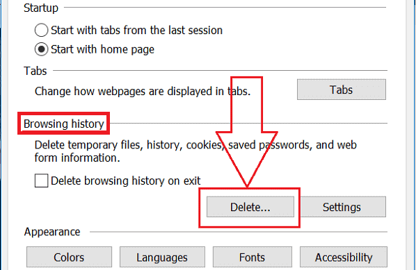 Terminate Cache History IE