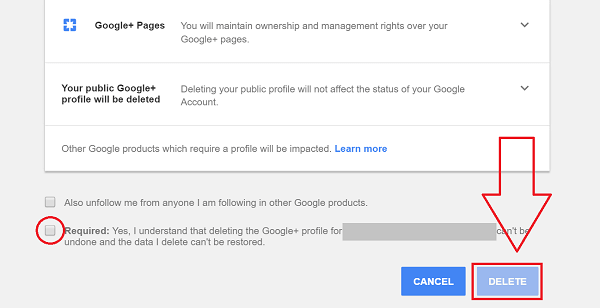 Remove Google Plus Account