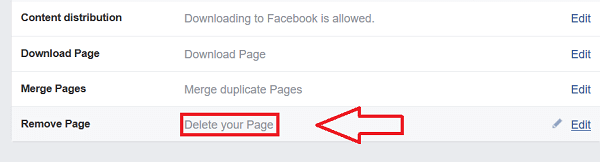Remove Facebook Page Permanently