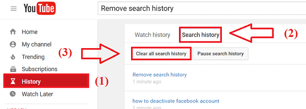 Clear Search History On YouTube Account