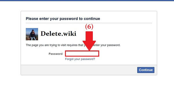 Delete.wiki/Delete Facebook Account/Reenter password