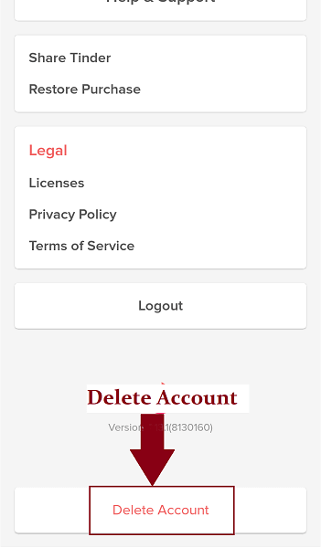 Delete Tinder account-Delete account option