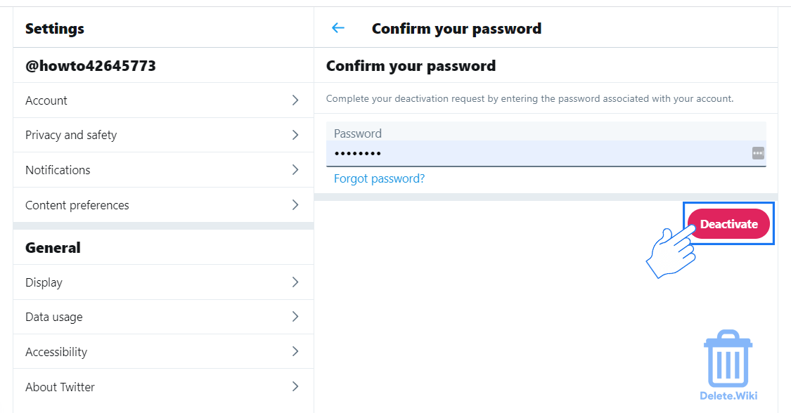 Enter password and confirm