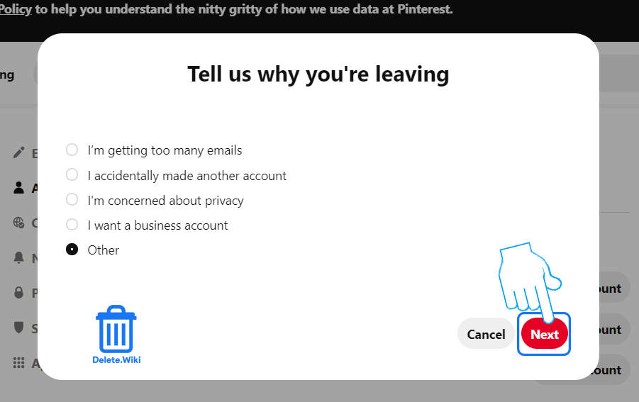 Select reason for leaving and click Next