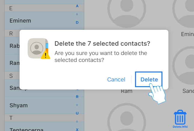 Choose Delete to confirm