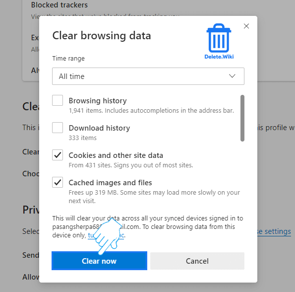 Click Clear now to confirm