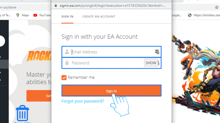 Sign in to EA