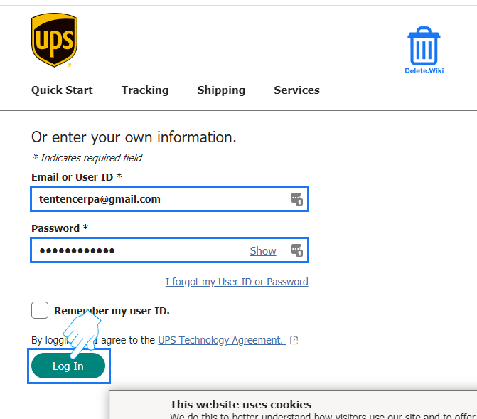 Sign in to UPS