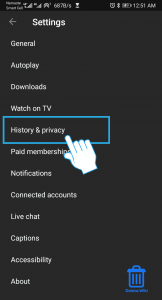 Click on history & privacy